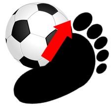 Vの字ドリブル:ボールをインサイドで押し出す
