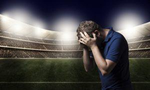 相手を恐れるサッカー選手