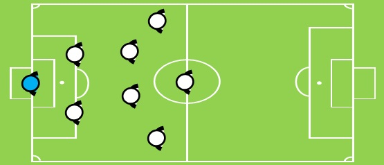 画像:8人制サッカーのフォーメーション:1-2-4-1の図