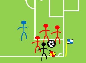 「身体的接触を伴わずに、相手競技者の進行を妨げる」のイメージ図