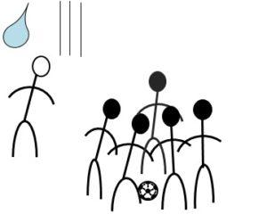 サッカーボールを選手で囲んで運ぶ図