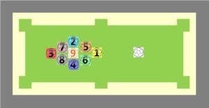snookball(スヌークボール)・ビリッカーのルール、エイトボールの並べ方