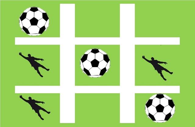 サッカーの練習方法:tic tac toe(三目並べ)