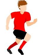 サカボン自作フリー画像:サッカー・ダッシュ1・赤ユニ・背景透明