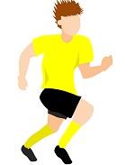 サカボン自作フリー画像:サッカー・ダッシュ1・黄色ユニ・背景透明