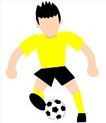 サカボン自作フリー画像:ドリブル:黄色ユニフォーム