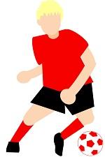 サカボン自作フリー画像:サッカー・ドリブル2・赤ユニ・背景なし