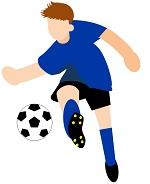 サカボン自作フリー画像:サッカー・シュート1・青ユニ・背景透明