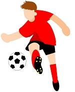 サカボン自作フリー画像:サッカー・シュート1・赤ユニ・背景透明
