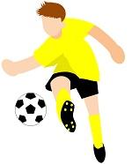 サカボン自作フリー画像:サッカー・シュート01・黄色ユニ・背景透明