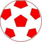 サカボン自作フリー画像:サッカーボール(赤色)