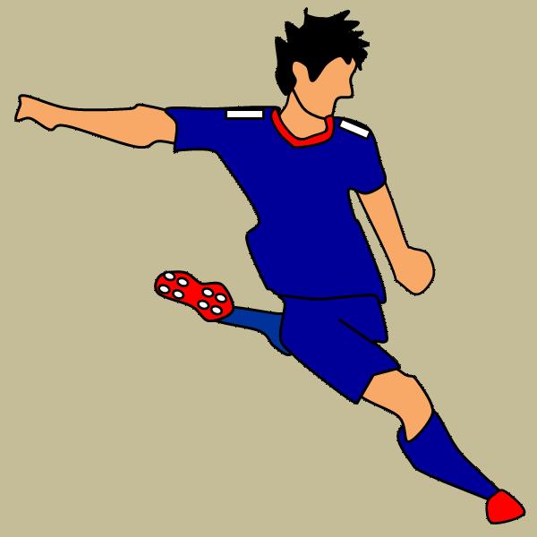 サッカー選手のシュート:フリー素材、イラスト、画像、サイズ:600×600