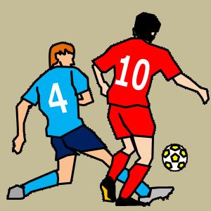 2人の選手がボールを取り合いながらドリブルする画像