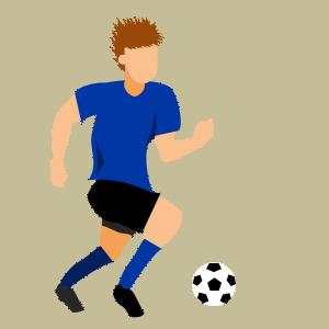 サッカーインサイドでドリブルのフリー素材、イラスト、画像、サイズ:300×300 byサカボン