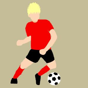 サッカー アウトサイドでドリブルのフリー素材、イラスト、画像、サイズ:300×300 byサカボン