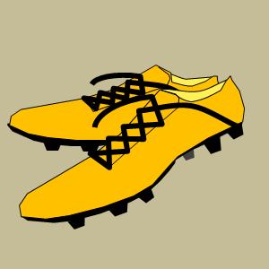 黄色いサッカーシューズ・スパイクのフリー素材、イラスト、画像、サイズ:300×300 byサカボン