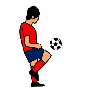 サッカー ももでリフティングするフリー素材、イラスト、画像、サイズ:300×300 byサカボン