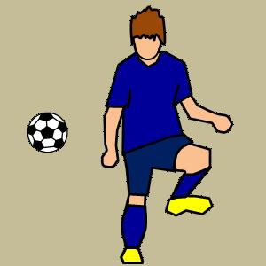 サッカー 左足でシュートのフリー素材、イラスト、画像、サイズ:300×300 byサカボン
