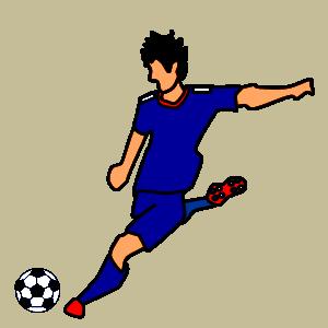 サッカー 右足でシュートのフリー素材、イラスト、画像、サイズ:300×300 byサカボン