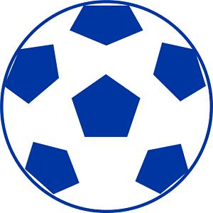 青色サッカーボールのフリー素材、イラスト、画像、サイズ:300×300 byサカボン