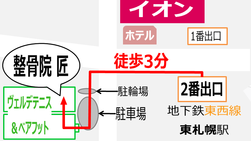地下鉄東札幌駅から整骨院匠までの地図