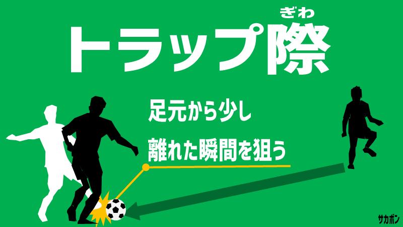サッカーでのディフェンスの原則:相手選手がトラップした瞬間を狙う